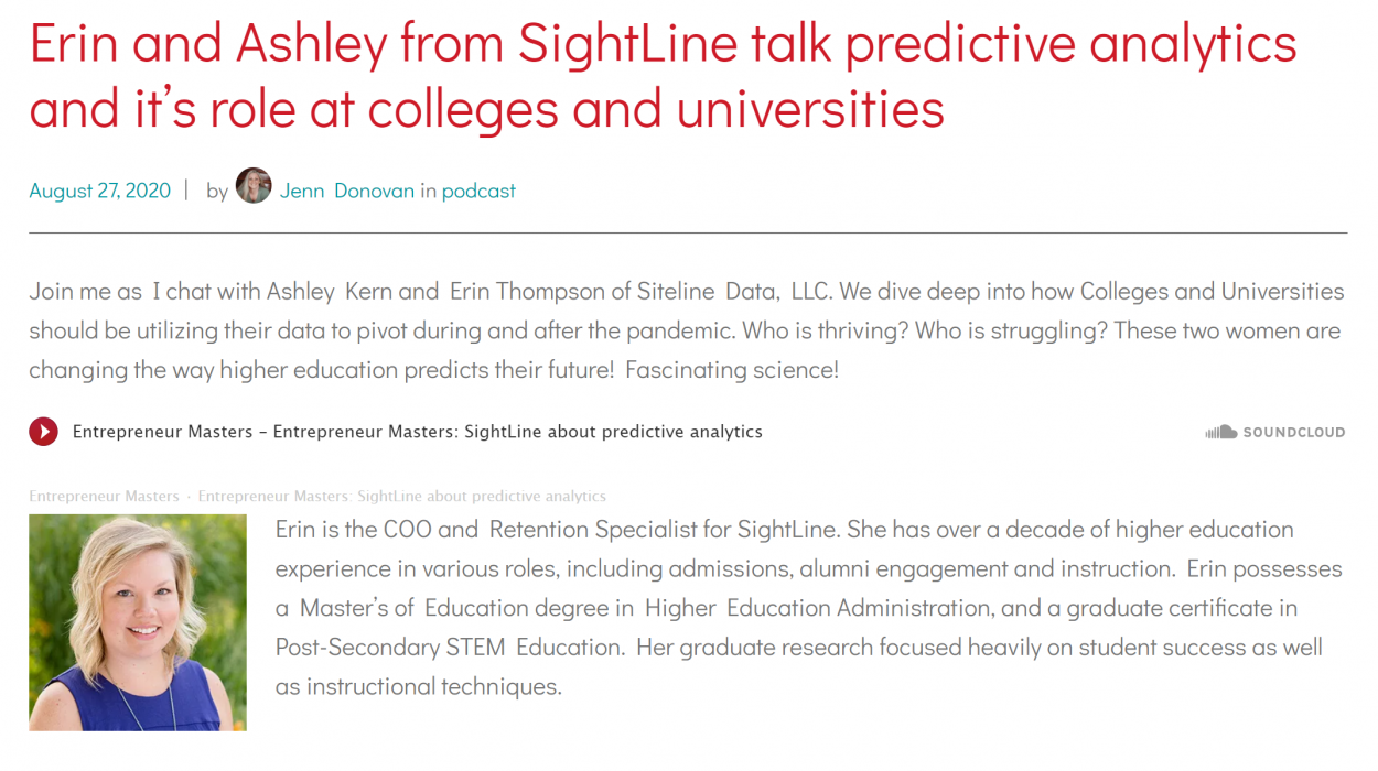 SightLine Guest Speakers on Podcast: Predictive Analytics in Higher-Ed During COVID-19